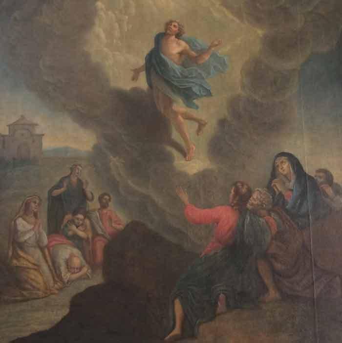L'Ascension de Jésus - Copie d'un tableau attribué à Nicolas Poussin (1594-1665) au Séminaire de Québec (Crédits photo : H. Giguère)