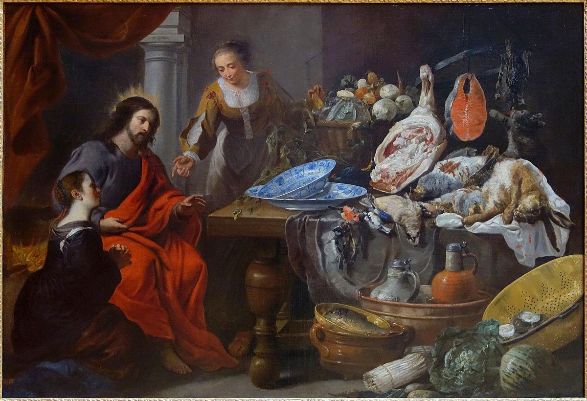 Jésus chez Marthe et Marie par Érasme II Quellin  (1607–1678) et Jan Fyt  (1611–1661)   entre 1650 et 1675 au Palais des Beaux-Arts de Lille (Crédits photo : Domaine public via Wikimedia Commons)