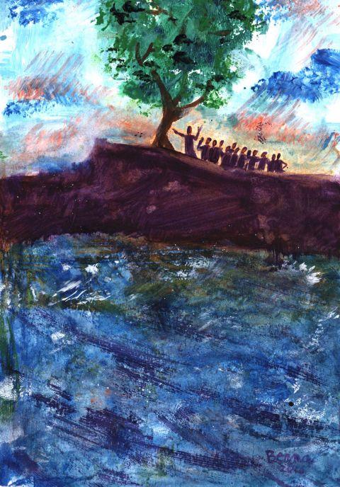 « Déracine-toi et va te planter dans la mer  »  (Crédits photo : Bernadette Lopez, alias Berna dans Évangile et peinture)