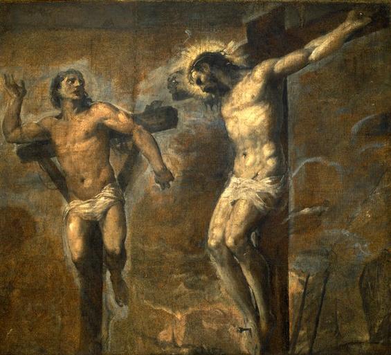 """""""Jesus Christ et le bon larron"""", c.1563, Le Titien (1489-1576), Pinacothèque Nationale, via delle Belle Arti, Bologne, Italie. (Crédits photo : Domaine public via Wikimedia Commons)"""