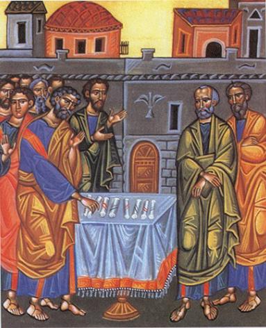 """Choix de saint Matthias pour remplacer Judas """"On tira au sort entre eux, et le sort tomba sur Matthias, qui fut donc associé par suffrage aux onze Apôtres"""" est-il écrit dans les Actes des Apôtres 1, 19 (Crédits photo : père Gilbert Adam)"""