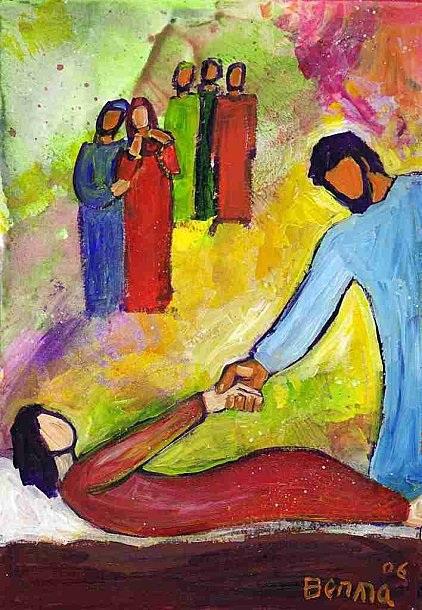 Jésus et la fille de Jaïre (Crédits photo : Bernadette Lopez, alias Berna dans Évangile et peinture)