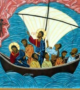 Îcône moderne représentant l'épisode de la tempête apaisée raconté par l'évangliste Marc