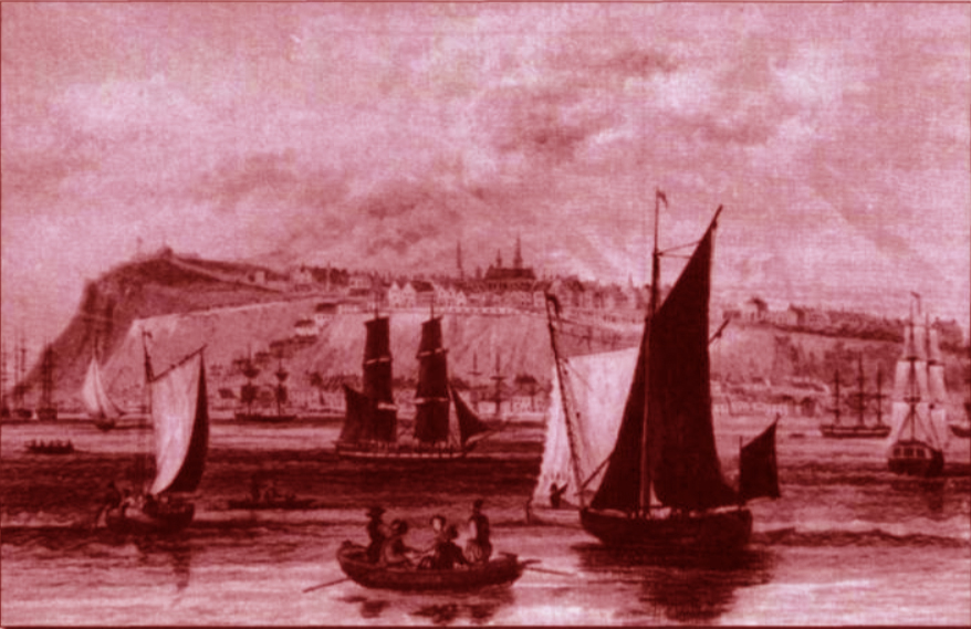 Vue de Québec, gravure de Thomas H. Shepherd. Au premier plan, des barques à voile comme celles que possédait le Séminaire de Québec (Collection privée).