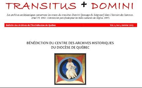Page frontispice du premier numéro du bulletin TRANSITUS DOMINI des Archives de l'Archidiocèse de Québec