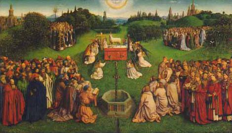 Retable de l'Agneau mystique achevé par Jan Van Eyck en 1432, Gand, cathédrale Saint-Bavon