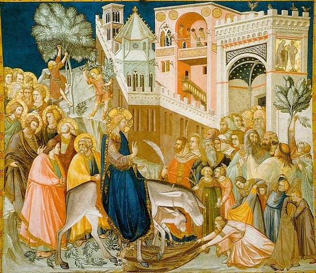 """Fresque à Assise """"L'entrée de Jésus à Jérusalem"""" de Pietro Lorenzetti (1320).  (Domaine public Wikimedia Commons)"""