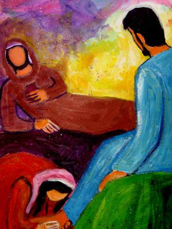 Le pharisien et la pécheresse lavant les pieds de Jésus  (Crédits photo : Bernadette Lopez, alias Berna dans Évangile et peinture )