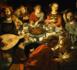 """Le Maître au milieu des serviteurs : """"c'est lui qui, la ceinture autour des reins, les fera prendre place à table et passera pour les servir"""" (Luc 11, 37) Domaine public"""