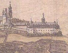 Détail d'une gravure ancienne de 1688 représentant les édifices du Séminaire de Québec par Jean Baptiste Louis Franquelin (1653-1712),  géographe et hydrographe du roi Louis XIV.