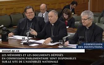Cardinal Lacroix, Mgr Paul Lortie et Mgr Chrisian Lépine présentant, le 26 octobre 2016, à Québec devant la Commission des Institutions, son mémoire sur le projet de loi 62, portant sur la neutralité religieuse.