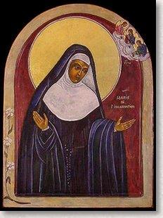 Icône de sainte Marie de l'Incarnation par Gilberte Massicotte-Éthier  (Collection du Musée des Ursulines de Trois-Rivières 2008)