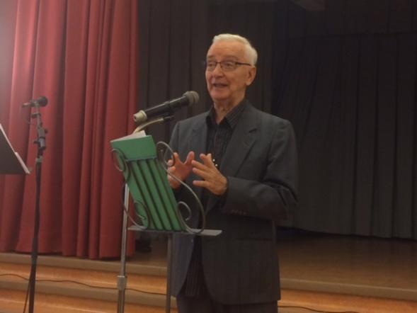"""Le père Marcel Boivin lors du lancement de son livre """"Mon agir dans  la lumière de l'évolution"""" chez les Soeurs St-Joseph de St-Vallier à Québec le 30 septembre 2018"""