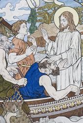Détail de la fresque sur la pêche miraculeuse au fronton de la Chapelle extérieure du Séminaire de Québec