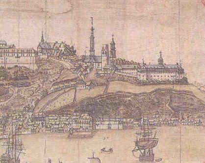 Québec comme il se voit de l`est par Jean-Baptiste-Louis Franquelin, 1688 (Service historique de la Marine, Vincennes) <br />Les édifices du SME se trouvent à droite