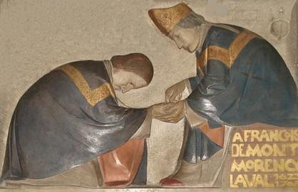 Détail du bas-relief de Henri Charlier (1883-1975) dans l'église Saint-Germain-des-Prés à Paris où François de Laval a été ordonné évêque le 8 décembre 1658