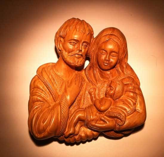 Sainte Famille en bois d'olivier de Bethléem (S. Gauthier)