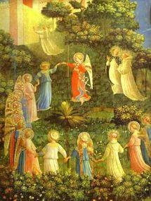 Fra Angelico 1387 – 1455 Détail de l'oeuvre intitulée `Le paradis` sur un panneau  vers 1435 - 1440 (Gemäldegalerie der Staatlichen Museen, Berlin)