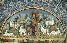Mosaïque du Bon Pasteur à Ravenne. Mausolée dit de Galla Placidia. Voûte en berceau. Ve siècle