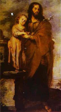 Saint Joseph avec l'Enfant-Jésus par Bartolomé Esteban Murillo vers 1665-1666 (Musée des Beaux- Arts à Séville, Espagne)