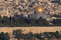 L`esplanade du Temple de Jérusalem sur laquelle est constuite aujourd`hui la mosquée d`Omar