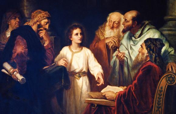 Jésus au temple avec les docteurs (Domaine public usage religieux seulement)