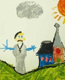 Dessin d'un enfant du primaire représentant François de Laval en attitude d`accueil les bras étendus et son Église naissante ensoleillée par la Parole de Dieu.