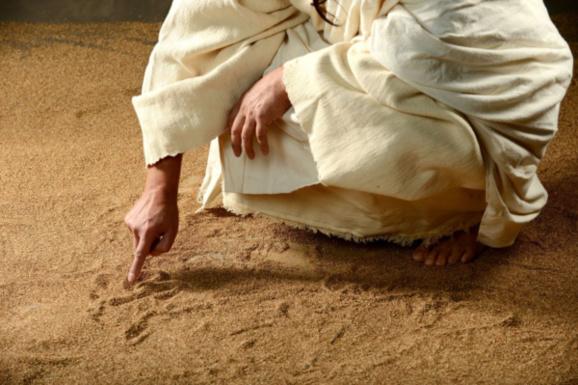 Épisode de la femme adultère, Jésus écrit sur le sol (Jean 8, 5) Domaine public
