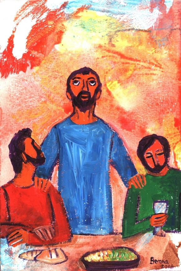 """""""Les yeux levés au ciel, Jésus priait ainsi..."""" - Jean 7, 20 (Crédits photo : Bernadette Lopez, alias Berna dans Évangile et peinture)"""
