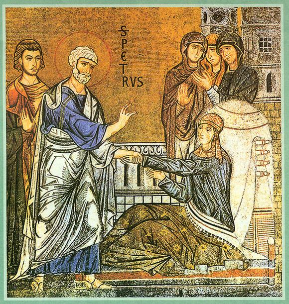 Guérison de Talitha a Joppée par saint Pierre racontée dans Actes 9, 36 et ss.