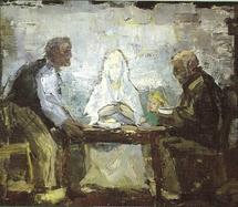 Les disciples d'Emmaüs. Tableau de Gust Dierikx, peintre flamand né en 1924