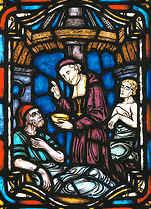 François de Laval auprès des pauvres. Vitrail de la Salle des prêtres au Pavillon Jean-Olivier-Briand du Séminaire de QUébec.