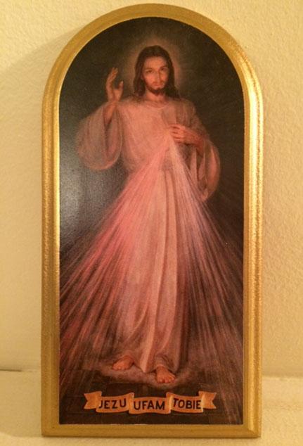 Image de Jésus miséricordieux décrite par sainte Faustine Kowalska (1905-1938) (Crédits photo : H. Giguère)
