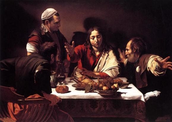 « Ils le reconnurent » Le souper  d'Emmaüs par le Caravage (1571-1610) peint entre 1601-1602 (Crédits photo : Domaine public Wikimedia Commons)