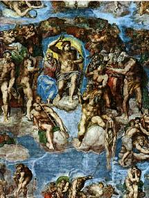 Le jugement dernier de Michel-Ange dans la Chapelle Sixtine à St-Pierre de Rome