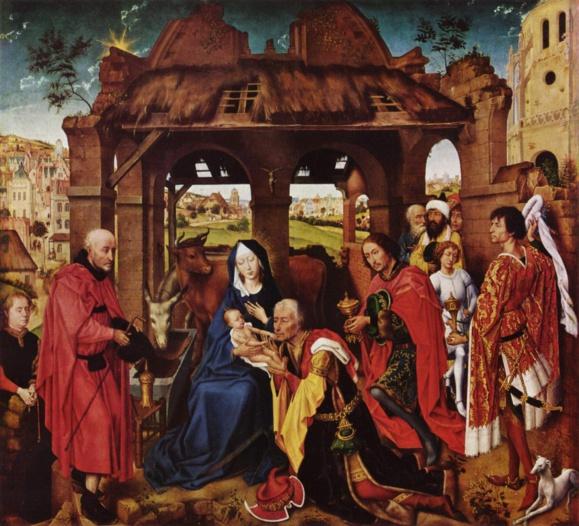 Adoration des mages par Rogier van der Weyden, panneau central du Retable de sainte Colombe, 1444, Munich, Altepinakothek Domaine public via Wikimedia Commons