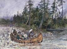 Explorateur et amérindiens en canot