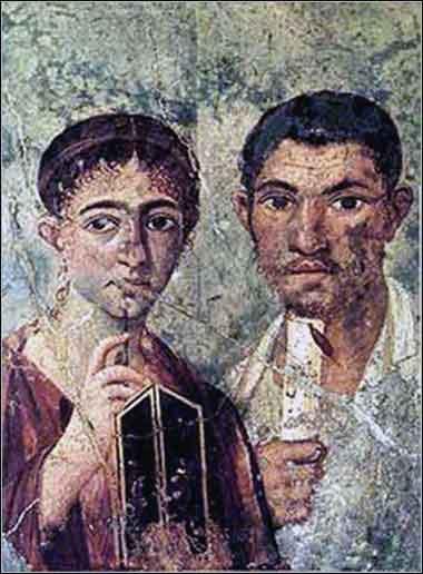 Ancienne fresque murale romaine représentant Prisca (ou selon son diminutif Priscille) et Aquila