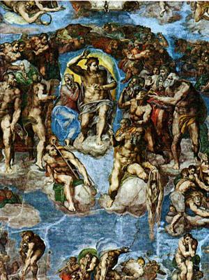 Le jugement dernier de Michel-Ange dans la chapelle Sixtine au Vatican