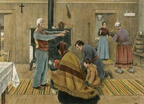 """""""La bénédiction du jour de l'An"""" par Edmond-Joseph Massicotte  1912. Massicotte y a représenté le père de famille donnant sa bénédiction le  premier de l'An."""
