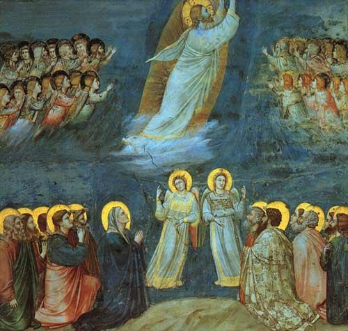 Giotto di Bondone (1267—1337). Chapelle des Scrovegni de Padoue. Chef-d'œuvre de la peinture aux couleurs intenses – le fameux bleu de Giotto. (Domaine public WikiArts)