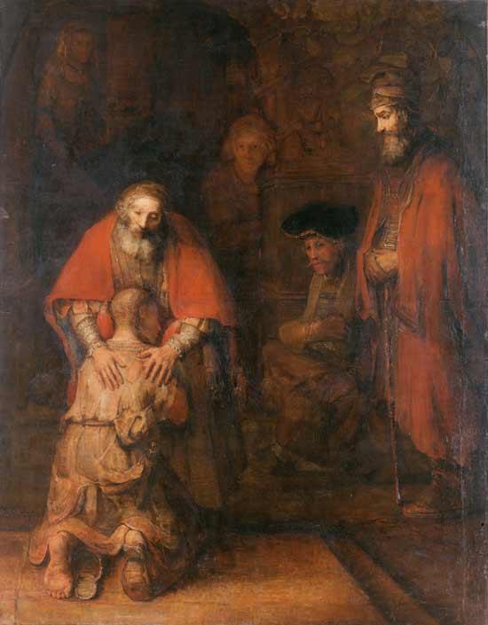 Le Retour du fils prodigue (en néerlandais, « Terugkeer van de Verloren Zoon ») tableau de Rembrandt, peint en 1668 (Domaine public)