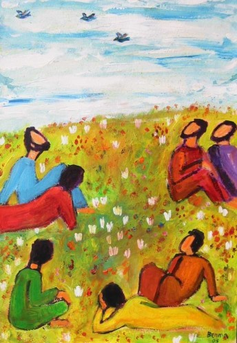 Regardez les oiseaux du ciel et les lys des champs  - Mathieu 5, 25-26 (Crédits photo : Bernadette Lopez, alias Berna dans Évangile et peinture )