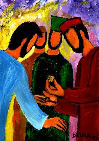 « Rendez à César ce qui est à César »  Mathieu 22, 21 (Crédits photo : Bernadette Lopez, alias Berna dans Évangile et peinture)