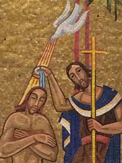 Mosaïque du baptistère de la Basilique Sainte-Anne-de-Beaupré (Crédits photo : H. Giguère)
