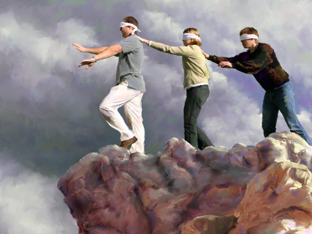 """"""" Un aveugle peut-il guider un autre aveugle ? Ne vont-ils pas tomber tous les deux dans un trou ?"""" Luc 6, 39 (Domaine public)"""
