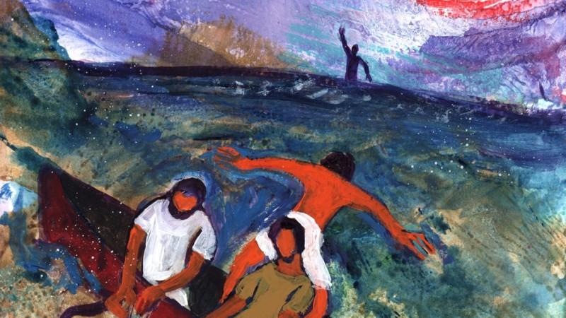Pierre se jette à l'eau Jean 21, 1-19 (Crédits photo : Bernadette Lopez, alias Berna dans Évangile et peinture)