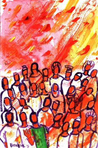 La descente de l'Esprit Saint sur les disciples au Cénacle le jour de la Pentecôte (Crédits photo : Bernadette Lopez, alias Berna dans Évangile et peinture)