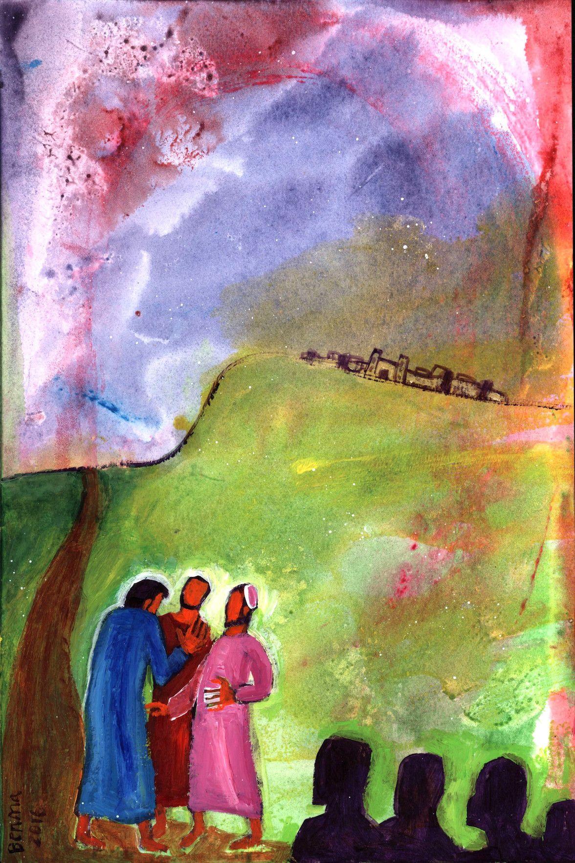 « Jésus, le visage déterminé, prit la route de Jérusalem  » Luc 9, 52  (Crédits photo : Bernadette Lopez, alias Berna dans Évangile et peinture)