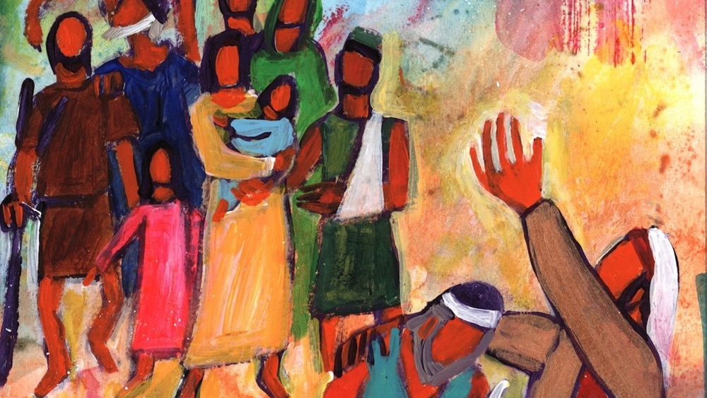 """« Quand tu donnes une réception, invite des pauvres, des estropiés, des boiteux, des aveugles » Luc 14, 13"""" (Crédits photo : Bernadette Lopez, alias Berna dans Évangile et peinture)"""